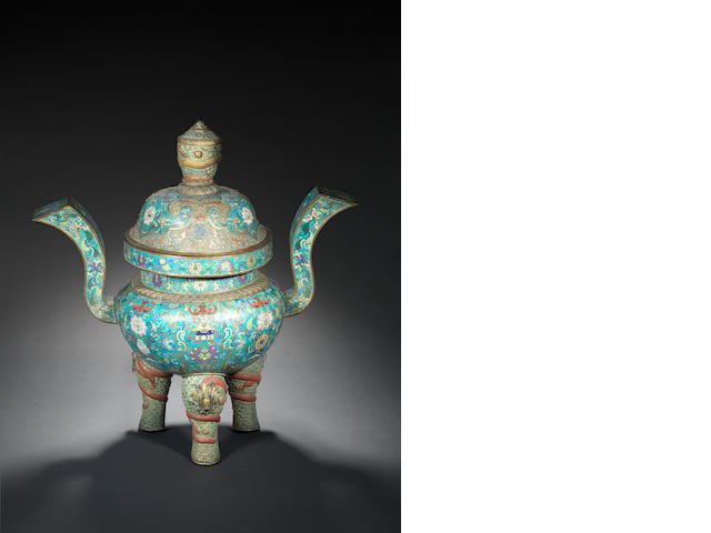 A rare and large cloisonné and champlevé enamel censer and cover Qianlong/ Jiaqing