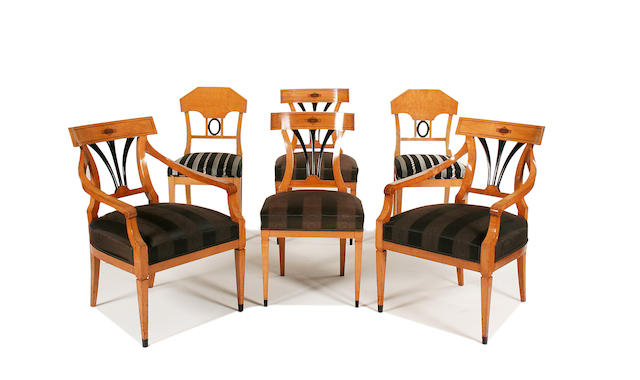 A set of four 19th century birch and ebonised dining chairs plus a similar pair of 19th century birch dining chairs