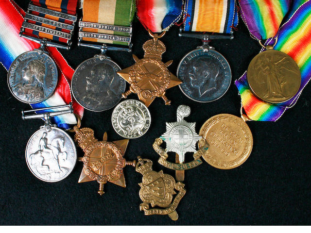 Norfolk Regiment: A Boer War & WWI medal groupawarded to Pte R. Briggs Norf. Regt.