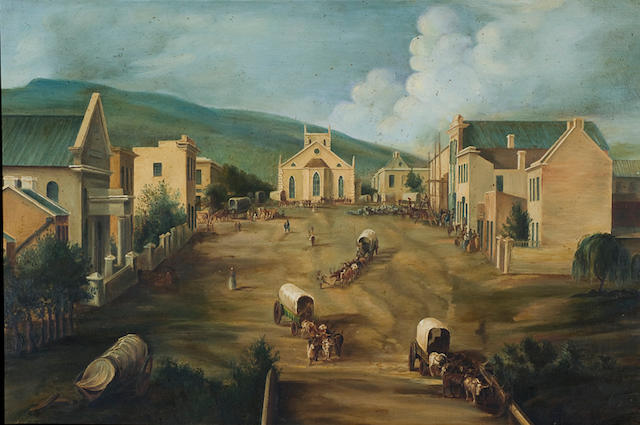Jessie Grant White (South African, 1866-1955), after Thomas Baines (South African, 1820-1875) 'Church Square, Grahamstown'