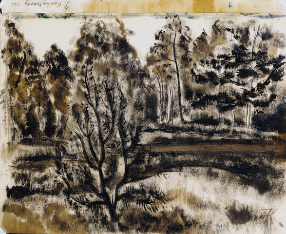 P. Konchalovsky, 2 Forest Scenes, watercolour & gouache