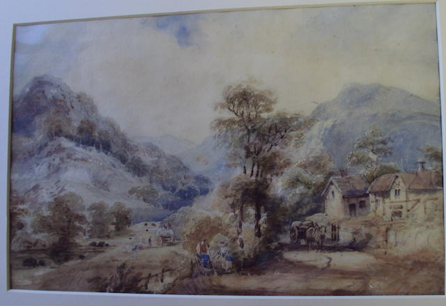 Circle of David Cox Snr., OWS (British, 1783-1859) Harvesting in a country landscape watercolour, together with another attributed to George Cole, 'On the Sid, Sidmouth, Devon', pencil and white heightening, inscribed with title and dated 1854, plus another follower of William Leighton Leitch, continental coastal scene, bears inscription verso, 'Nice from Maison Juillia', watercolour, all unframed, (3)