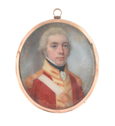Lewis Vaslet (of Bath) (British, 1770-1808) An Officer, wearing red coatee with cream facings and gold epaulettes over frilled white chemise and black stock, white cross belt with gold, oval belt-plate inscribed 48, his hair powdered