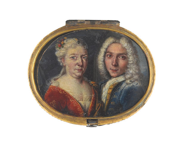 Continental School, circa 1720 A Mother with her adult son: she, wearing red figured robe over white dress trimmed with lace, gold mantle fastened at her left shoulder, her powdered hair dressed with red and yellow flowers and an enamel jewel; he, wearing blue figured coat and waistcoat, white chemise, stock and cravat, long powdered wig