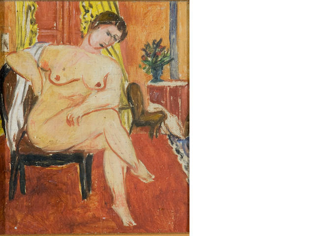 Wolf Kibel (Polish, 1903-1938) Seated nude with towel (recto); Seated nude in an interior (verso)