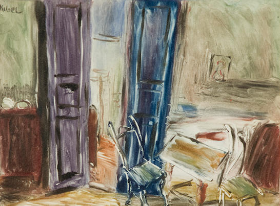 Wolf Kibel (Polish, 1903-1938) Interior with purple doors