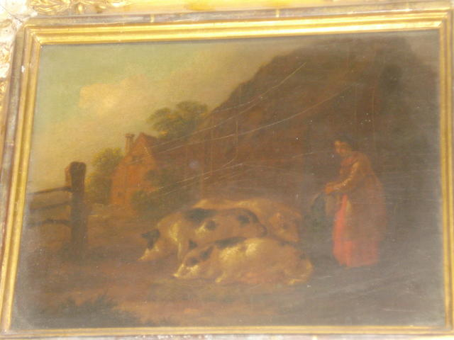 Circle of George Morland (London 1763-1804) A maid feeding pigs in a farmyard; maid, donkey and sheep on a hillside, a pair