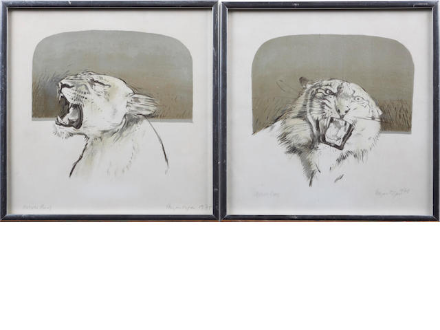 Bryan Organ (British, born 1935) A pair of lions
