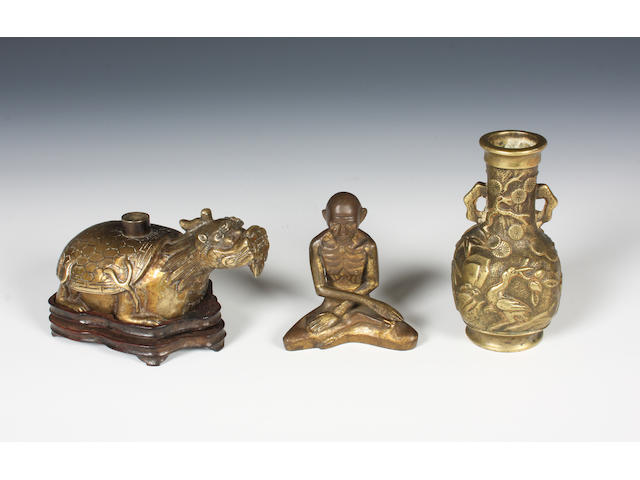A Chinese bronze water pot, a miniature bronze vase and a figure 18th Century and later.