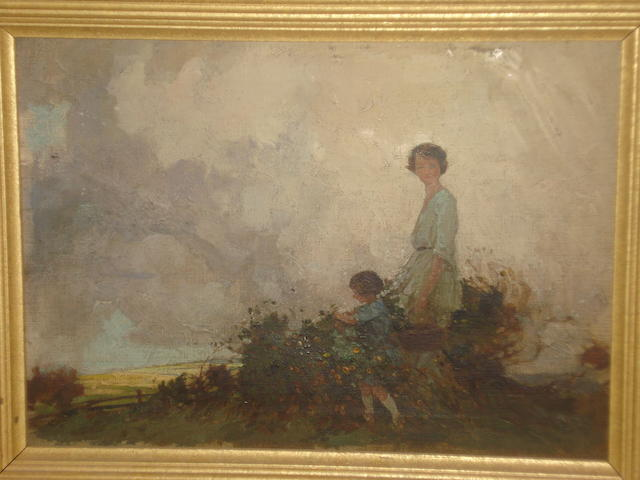 Circle of Frederick Stead (British, 1863-1940) Blackberry pickers