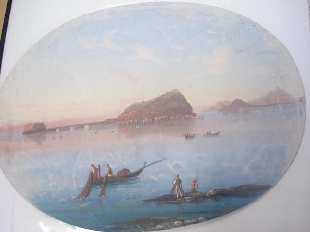 Corelli (Italian circa 1900) Fishermen in the Bay of Naples, and another similar, a pair, ovals