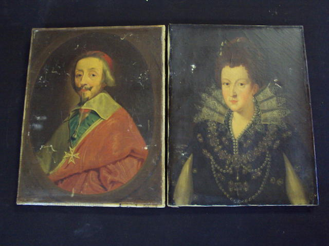 Continental school circa 1840 Portrait of Cardinal Richelieu, together with another, possibly of Marie de Medici, a pair