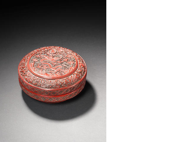A rare large three-colour lacquer circular 'dragon' box and cover Jiajing six-character mark and of the period