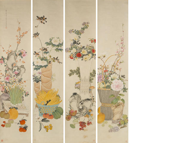 Ju Lian (1828-1904) Flower and Fruits of the Four Seasons