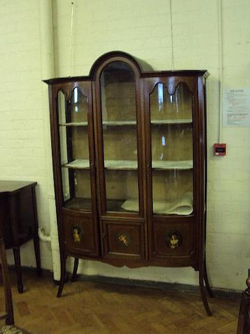 An Edwardian mahogany, inlaid and painted display cabinet