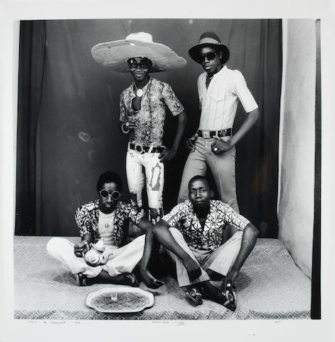 Malick Sidibé (Malian, born 1936) Amis des Espagnols (Friends of the Spanish),  1968 Paper 122 x 122cm (48 x 48in), image 98.5 x 101cm (38 3/4 x 39 3/4in).