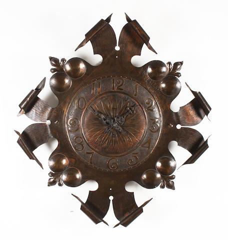 A large Art Nouveau style copper finish metal timepiece