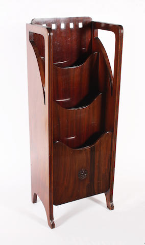 A Scottish school mahogany magazine rack