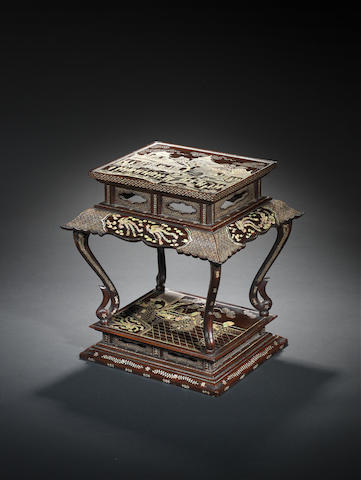 A mother-of-pearl-inlaid lacquer wine table  Ming Dynasty