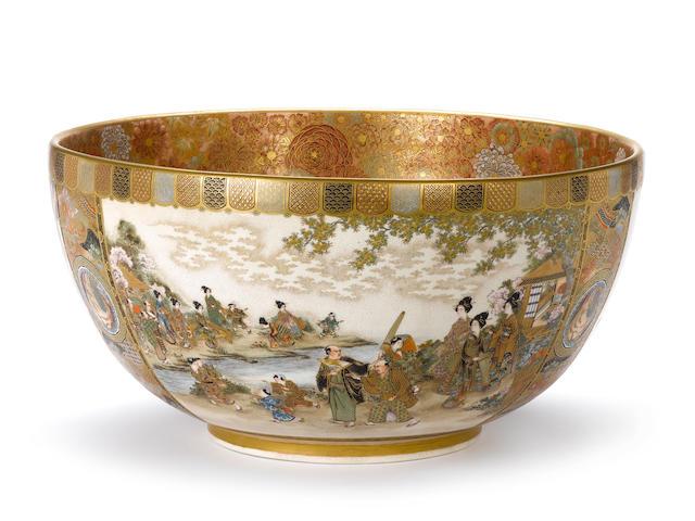 An impressive and unusually large Satsuma deep bowl By Ryozan, Meiji Period
