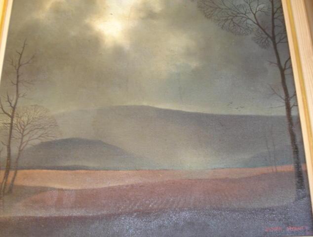 Derek Mynott (British, 1925-1994) Evening landscape