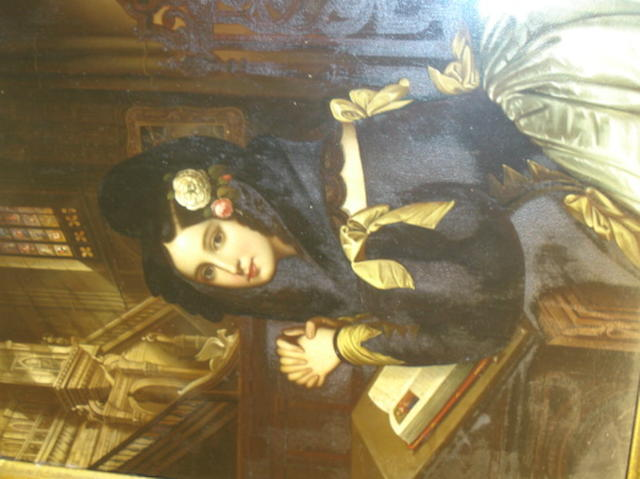 19th Century Spanish school Young woman in a church interior