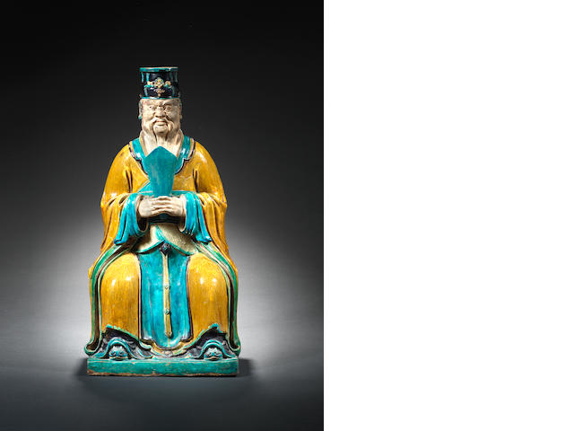 A large sancai seated figure Late 16th/17th century