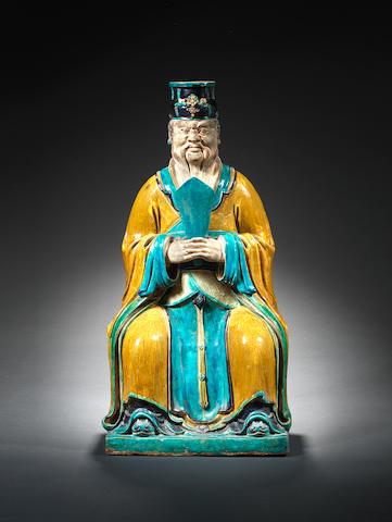 A large sancai seated figure Late 16th/17th century