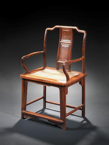 A huanghuali and huamu Southern Official's Hat armchair 18th century
