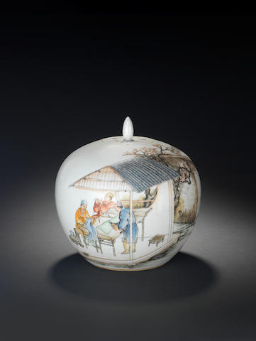 A famille rose globular jar and cover Painted by Liu Xiren (1906-1967), signed and dated middle autumn 1926