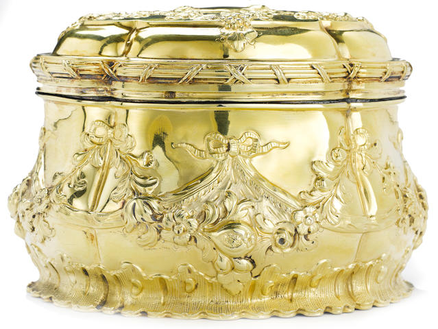 A George III silver-gilt toilet box, by William Cripps, London 1760, with later Russian import marks,