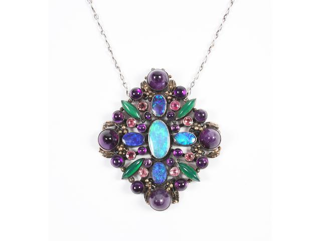 A Sybil Dunlop (?) gem-set pendant Unmarked,