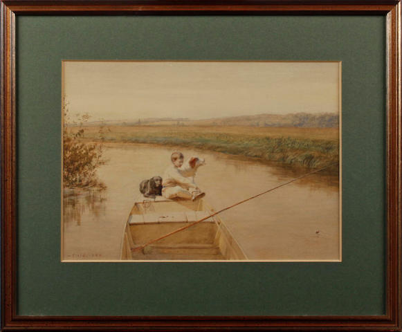 Walter Field (English, 1837-1901) Boy with dogs fishing from a boat