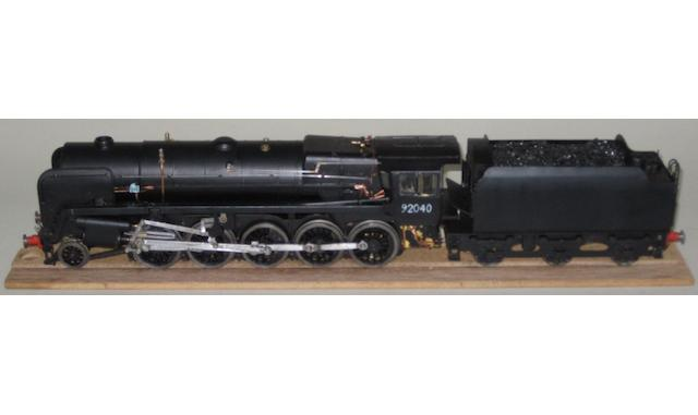 Scratch built class 9F 2-10-0 BR  locomotive 92040 and 6-wheel tender
