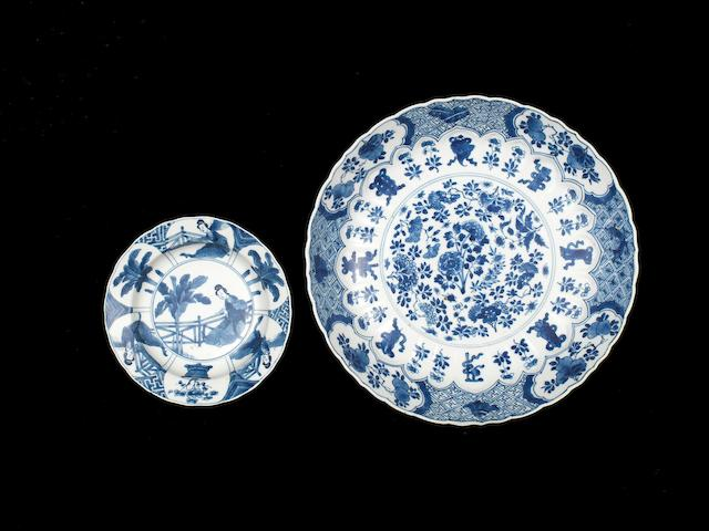 Two blue and white dishes Kangxi six-character marks and of the period