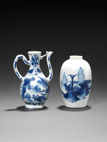 A small blue and white ewer Circa 1640