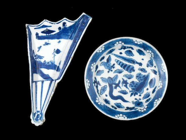 A blue and white ko-somutsuke fan-shaped mukozuke Circa 1620-1645