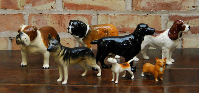 A collection of Beswick dog figures