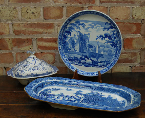 A quantity of blue and white ceramics