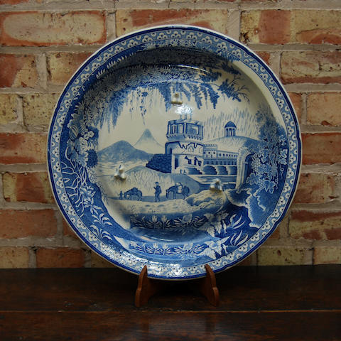 A large Bevington & Co blue and white meat dish