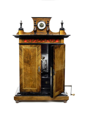 A 9-inch Brittania 'smoker's cabinet' upright disc musical box, circa 1900,