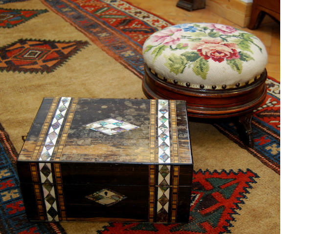 A Victorian inlaid work box and footstool