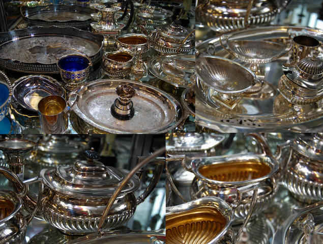 A mixed collection of silver-plated items