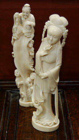Two carved Japanese ivory figures