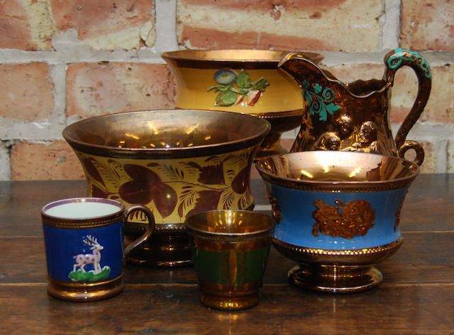 A collection of copper lustre wares