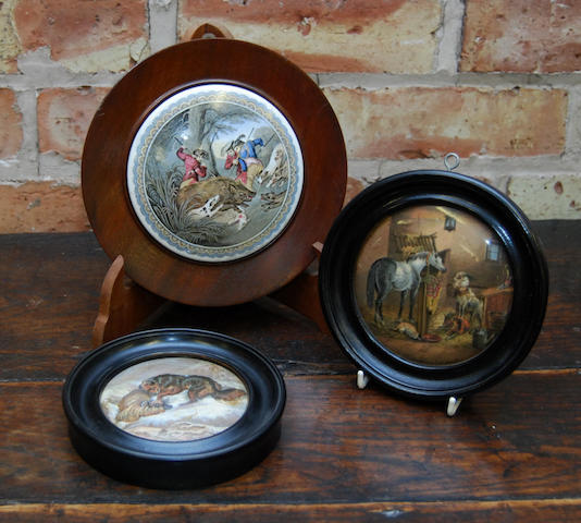 A collection of fifteen framed pot lids