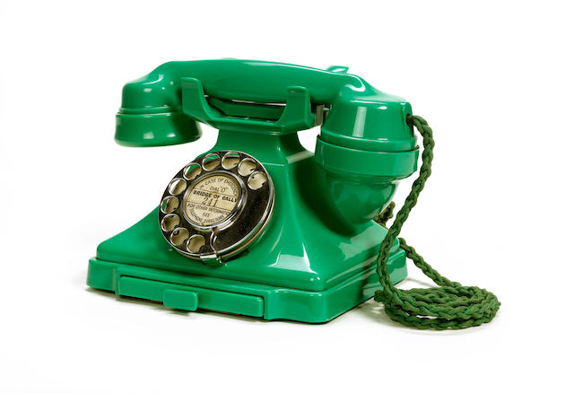 A near-mint 200-series green bakelite telephone, impressed mark 164 57,