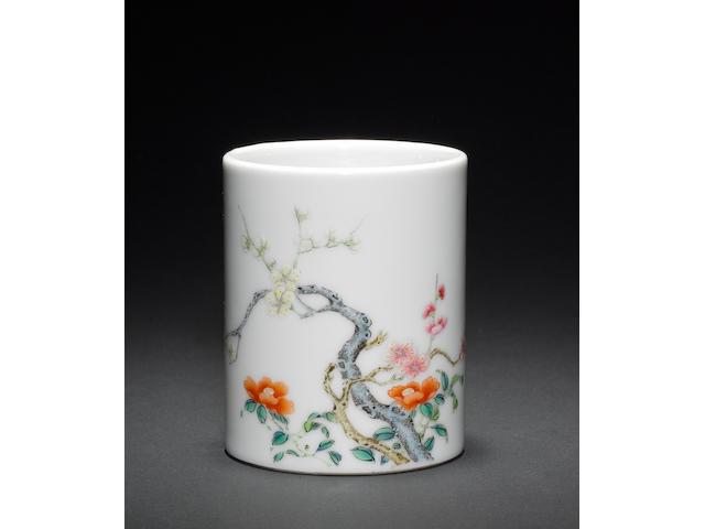 A famille rose brush pot Qianlong seal mark