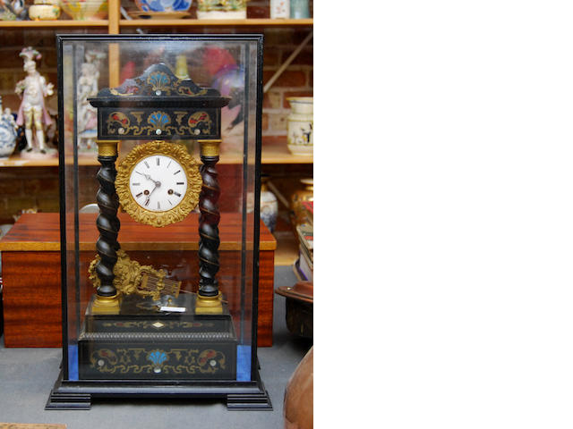 A mid 19th century French portico clock