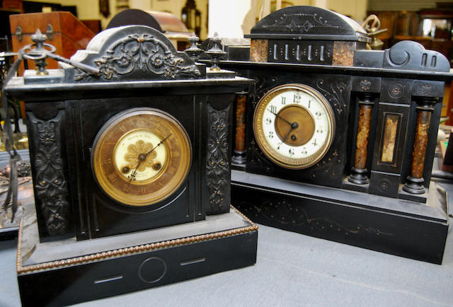 Two black slate clocks